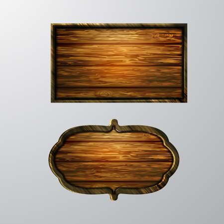 plywood: Wooden signs icon set. Illustration