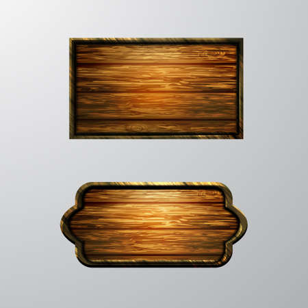 Wooden signs, vector icon set isolated on white Illustration