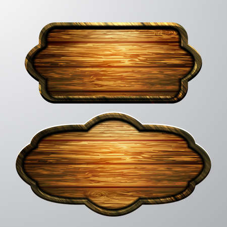 Wooden signs, vector icon set.