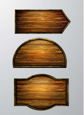 Wooden signs, vector icon set on white isolated