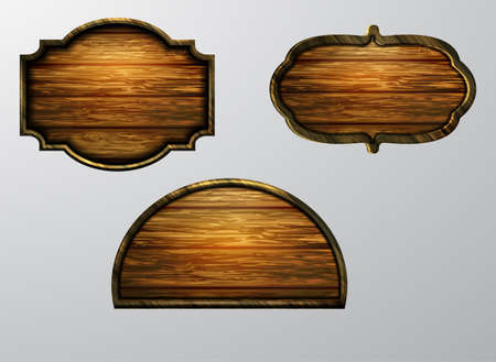 Wooden signs, vector icon set