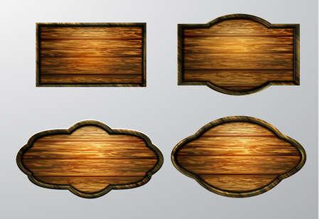 Wooden signs icon set. Illustration