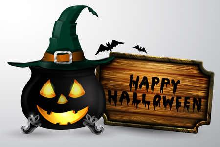 Cartoon Halloween witchs cauldron Illustration