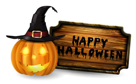 Scary Jack O Lantern halloween pumpkin with candle light inside wooden sign and witch hat vector