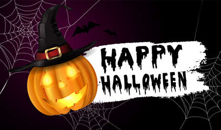 Scary Jack O Lantern halloween pumpkin with candle light inside on spider web background with witch hat and with handwritten happy halloween vector Vector Illustration