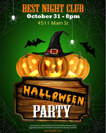 Halloween party flyer with pumpkins, hat, bats spiders and wooden board vector vector.