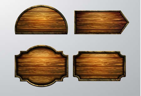 Wooden signs icon set