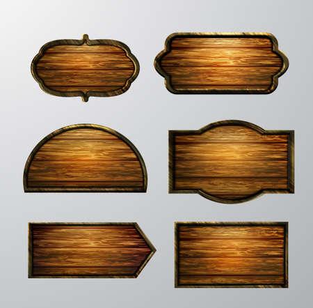 나무 표지판, 벡터 아이콘 세트
