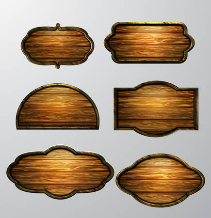 wooden post: Wooden signs, vector icon set