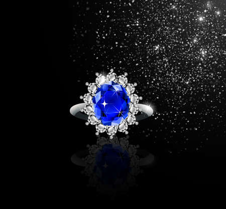 White gold ring with sapphire and diamonds and silver dust vector Ilustracja