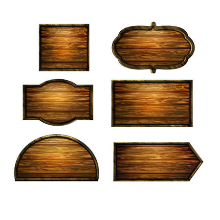 plywood: Wooden signs, vector icon set