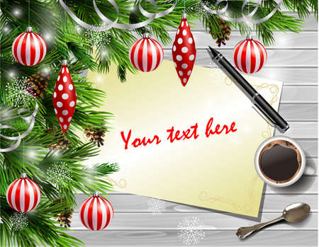 Christmas New Year design light wooden with christmas tree and white and red balls and wish list coffee teaspoon and pen