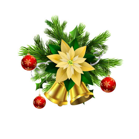 Christmas decoration with evergreen trees and golden bells with poinsettia