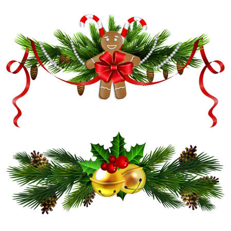Christmas decoration evergreen trees and bell Illustration