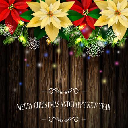 Christmas decoration evergreen trees illustration. Illustration