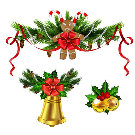 Christmas decoration evergreen trees and bell Ilustrace