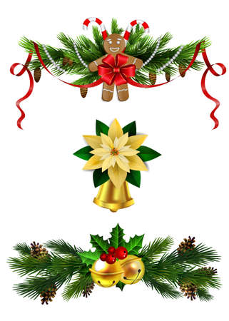 Christmas decoration set with evergreen trees gingerbread man cookie and bell vector Illustration