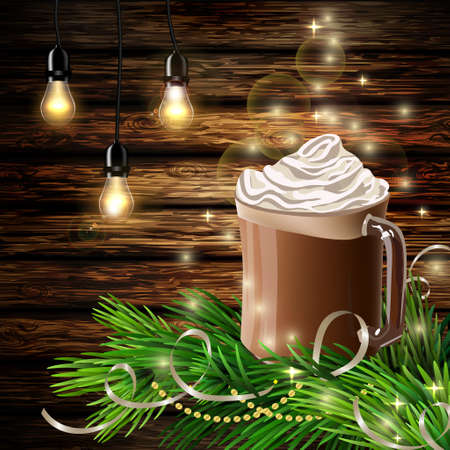 christmas backgrounds: Christmas New Year design with hot chocolate Illustration