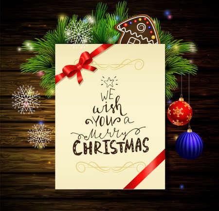 wooden post: Christmas background on wood Illustration