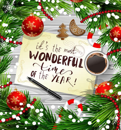 Kerst en Nieuwjaar kaart ontwerp Stock Illustratie