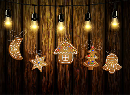 Gingerbread man tree bell half moon and stars with decorations Cristmas background on wood Vector Illustration