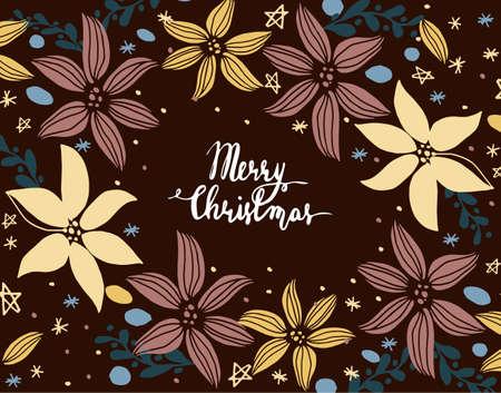 Carte de Noël avec des éléments de Cristmas dessinés à la main et des salutations manuscrites Banque d'images - 87678381