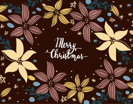 Christmas card with hand-drawn Cristmas elements and handwritten greetings Illustration