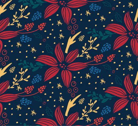 Christmas seamless pattern with fir tree Çizim