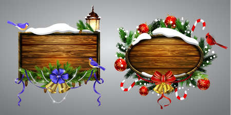 Vector realista ilustración conjunto de tarjeta de navidad de madera . Foto de archivo - 87737822