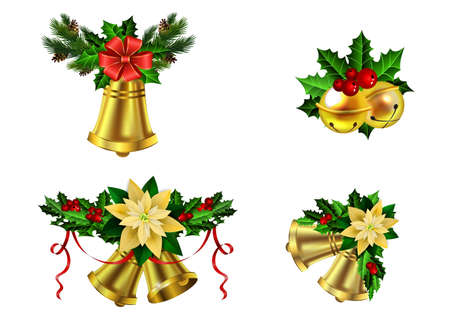 Christmas decoration set with evergreen trees and bells vector illustration. Illustration
