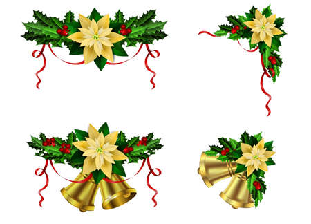 Christmas decoration set with evergreen trees holly poinsettia and bells vector illustration.