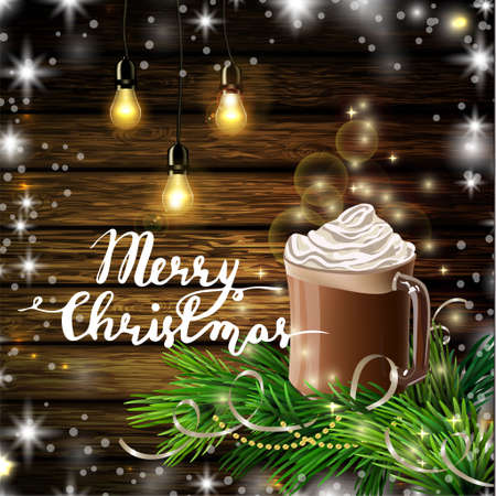 Christmas New Year design dark wooden background with hot chocolate and Christmas tree Vector illustration.