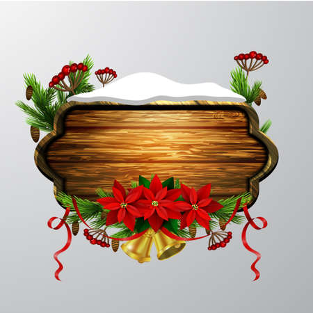 Vector wooden christmas board Ilustrace