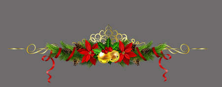 Christmas decoration with evergreen trees pine cones, poinsettia and golden swirls isolated vector illustration.
