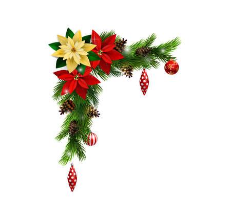 常緑の木にクリスマス コーナー装飾。