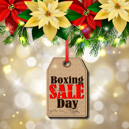 Boxing day sale tag with evergreen trees.