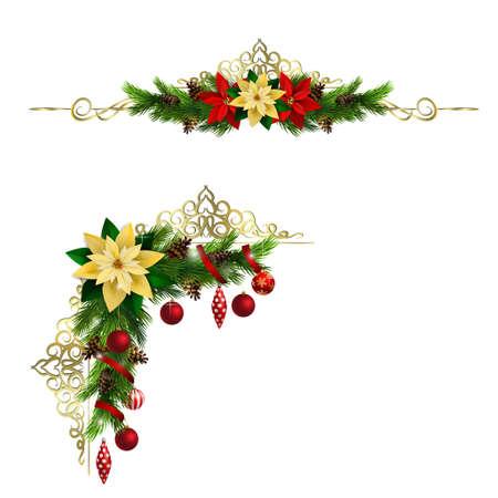 常緑と金色の鍛造とコーナーのクリスマスの装飾を設定します。