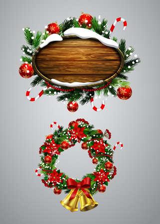 クリスマス ツリー ・ デコレーション クリスマス リースとクリスマス メッセージ板のベクトル現実的なイラストを設定