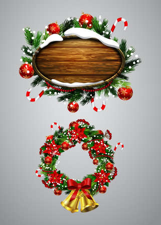 Vector realistic illustration of wooden christmas message board with christmas tree and decorations and Christmas wreath set Illustration