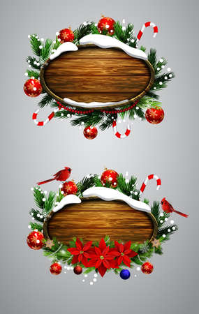 snow cardinal: Vector realistic illustration of wooden Christmas board set