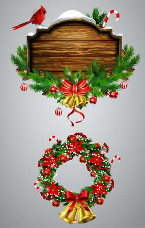 Vector realistic illustration of wooden Christmas board and wreath set Vectores