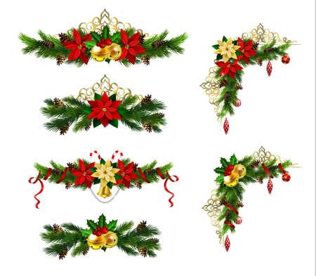 クリスマス装飾常緑樹黄金鍛造とポインセチアを設定します。  イラスト・ベクター素材
