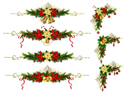 Christmas decoration set with evergreen tress and poinsettia with two golden bells.