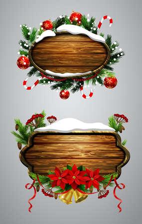 ベクトル木製クリスマス ボード