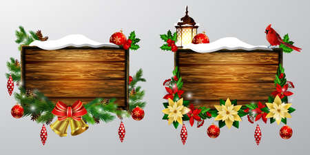 snow cardinal: Realistic illustration of wooden Christmas board set with Christmas tree Cardinal bird and decorations.