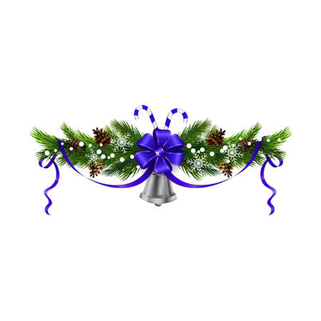 Christmas decoration with evergreen trees pine cones and silver bell isolated vector.