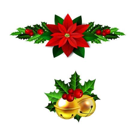 エバー グリーン treess 松ぼっくりとポインセチア分離ベクトル セット クリスマス装飾