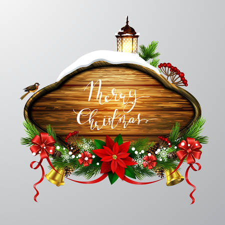 Vector realistic illustration of wooden christmas message board with christmas tree sparrow and decorations