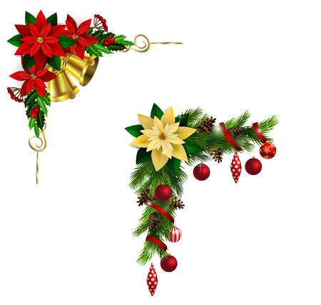 Kersthoekdecoratie met groenblijvende bomen dennenappels en poinsettia.
