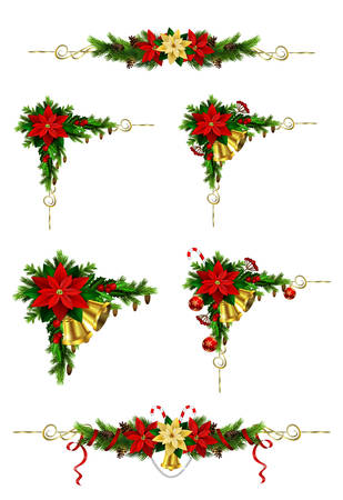 Christmas decoration set with evergreen trees pine cones and poinsettia.